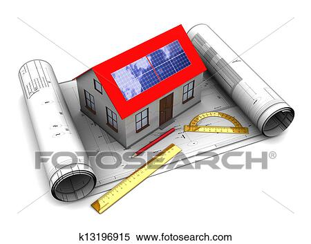 Stock illustration of house with solar panel design k13196915 3d illustration of house with solar panel and blueprints roll malvernweather Gallery