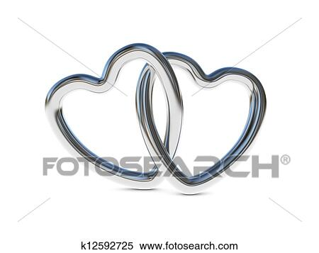 Stock Illustration Of Intertwined Silver Heart Rings K12592725
