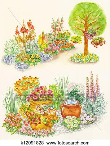스톡 일러스트 - 정원 디자인, 와..., 은 꽃이 피었다, 침대 k12091828 ...