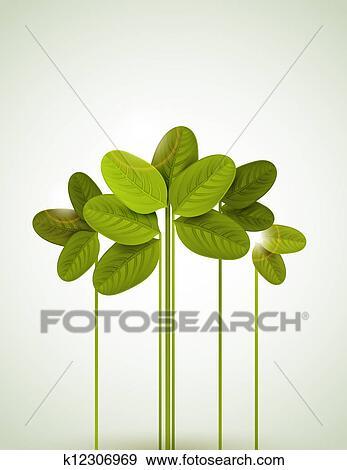 剪贴画 - 绿色的树叶