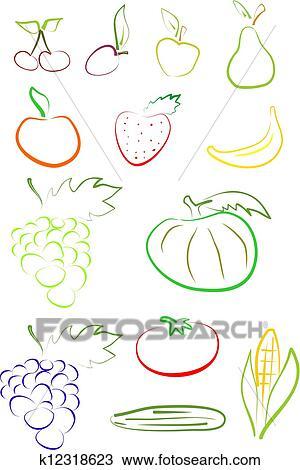手绘图 水果, 放置