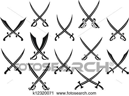 Clipart of Swords and sabres for heraldry k12320071 - Search Clip ...