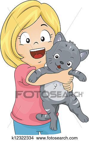 手绘图 - 猫, 女孩
