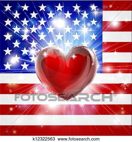 手绘图 - 爱, 美国, 旗