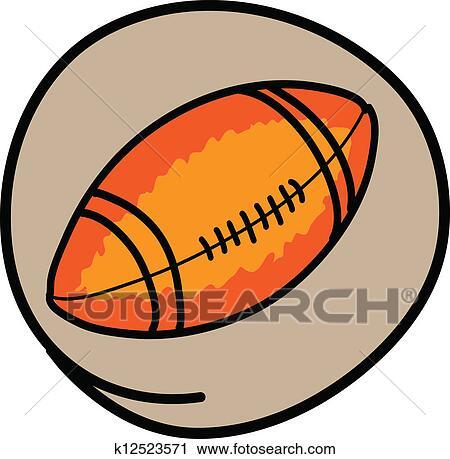 Clipart une football am ricain sur vert rond fond k12523571 recherchez des clip arts - Dessin football americain ...