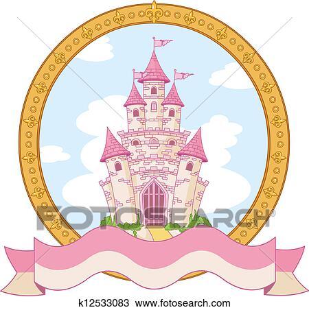 手绘图 - 公主, 城堡,