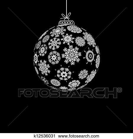 clipart schwarz wei weihnachten ball eps8 k12536031 suche clip art illustration. Black Bedroom Furniture Sets. Home Design Ideas