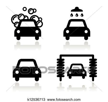 Clipart lavage voiture ic nes ensemble vecteur k12536713 recherchez des clip arts des - Coloriage car wash ...