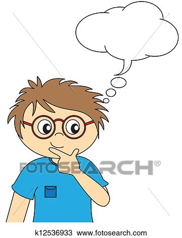 Clipart - Child thinking. space dialogue. Fotosearch - Search Clip Art ...