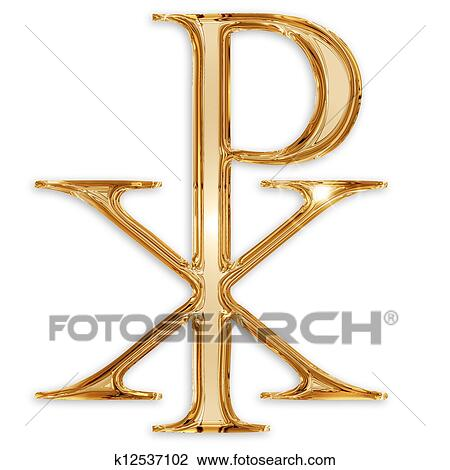 Clip art of chi rho christian symbol isolated on white background