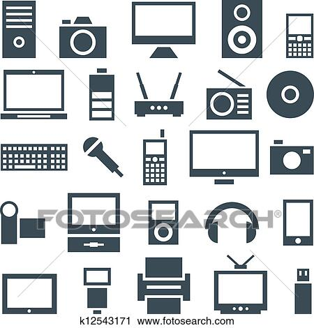 Clipart of Icon set gadgets, computer equipment and ...