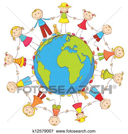 Clipart of Kids around the Globe k12579294 - Search Clip Art ...