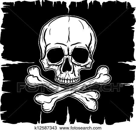 Clipart of Skull and Crossbones over black flag k12587343 - Search ...