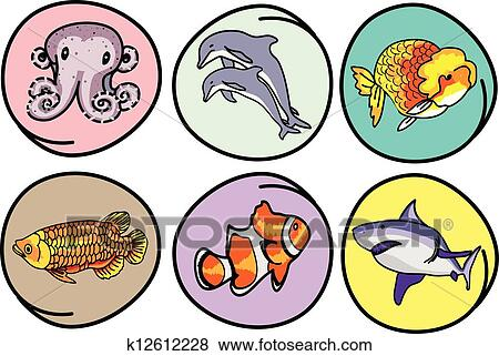 Clip Art of A Set of Aquatic Animal on Round Background k12612228 ...