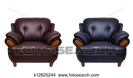 stock photo of black and brown leather sofa isolated on whit