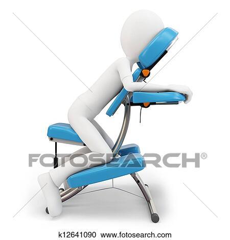 chair massage clip art. stock illustration - 3d man and massage chair . fotosearch search clipart, posters clip art