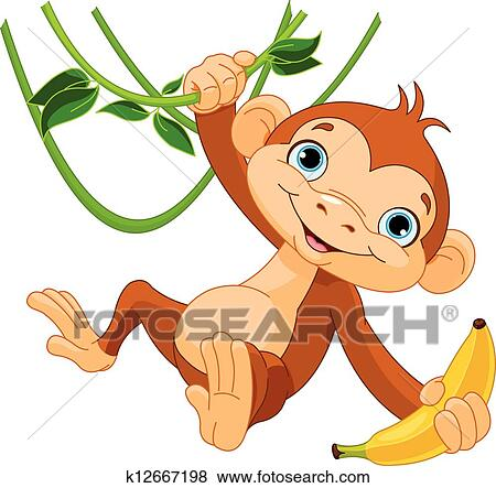 Cute Baby Monkey Drawing Cute Baby Monkey on a Tree