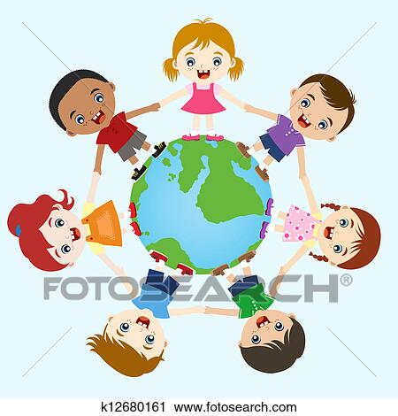 Clipart of multicultural children hand in hand k12680161 ...