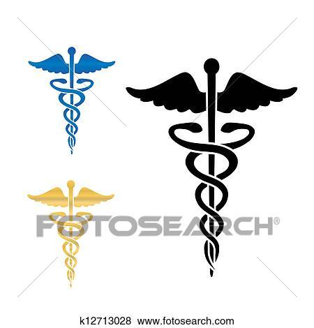 Clip Art of Caduceus medical symbol vector illustration. k12713028 ...