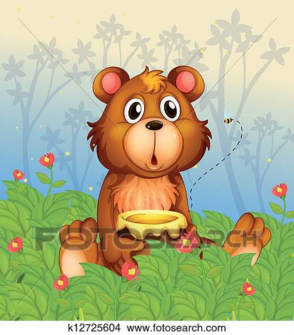 Clipart of A shocking face of a bear in the forest ...
