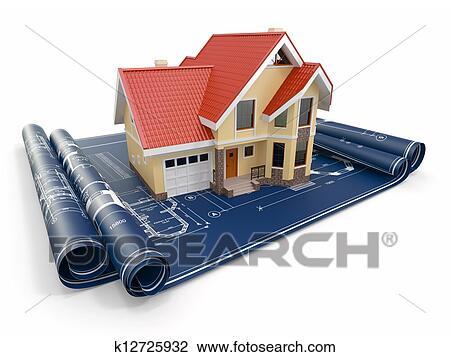 Clip Art Of Residential House On Architect Blueprints Housing