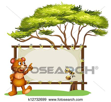 Clip Art of A notice board, a bird and a honey bee k12732788 ...