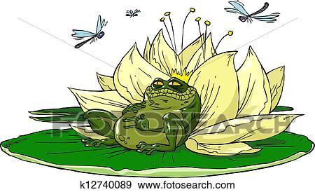 剪贴画 - 蟾蜍, 在上, 百合花
