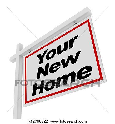 clip art dein neues heim verkauf schild real estate. Black Bedroom Furniture Sets. Home Design Ideas