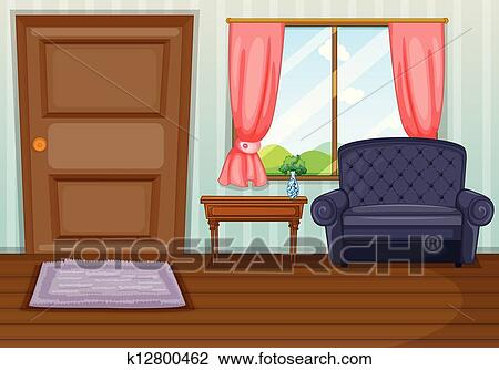 Clipart of a clean living room k12800462 search clip art for Living room clipart