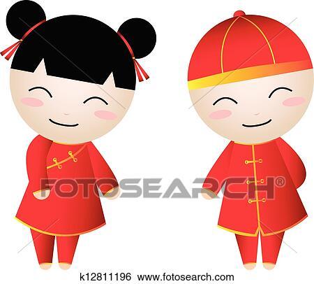 Clip Art Chinese Clipart chinese clip art illustrations 69035 clipart eps vector girl boy