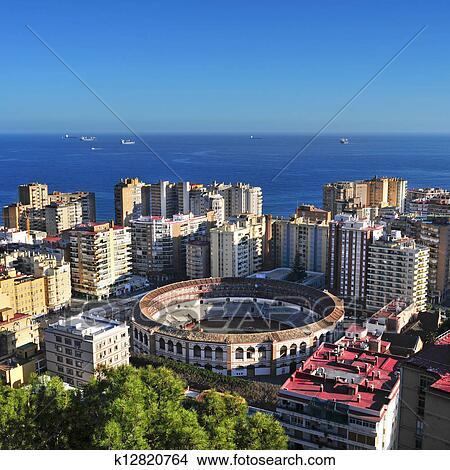 Banco de imagem malagueta bullring em malaga espanha k12820764 busca de imagens - Fotografia aerea malaga ...