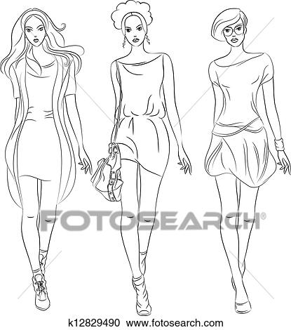 Top Model Clipart Top Models in Dresses