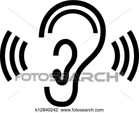 Clipart vecteur oreille symbole k12840242 recherchez - Clipart oreille ...