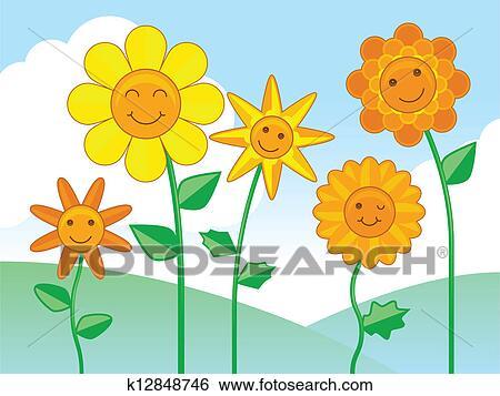 剪贴画 - 开心, 花