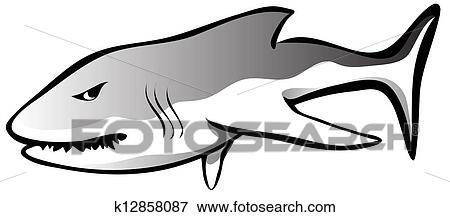 失量图库 - 愤怒, 鲨鱼. fotosearch - 搜寻图画,图例及图像图片