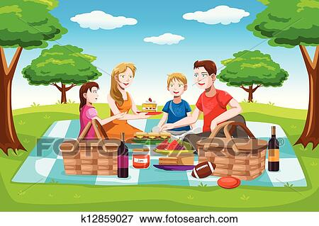 Clip Art Of Happy Family Having A Picnic K12859027