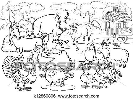 clip art - bauernhoftiere, karikatur, für, ausmalbilder k12860806 - suche clipart, poster