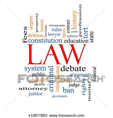 Drawing of Law Word Cloud Concept k12877823 - Search ...