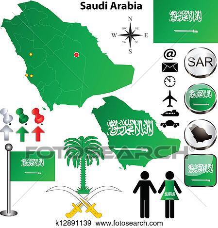 地囹kΈ�_剪贴画 - 沙特阿拉伯, 地图 k12891139 - 搜寻图样