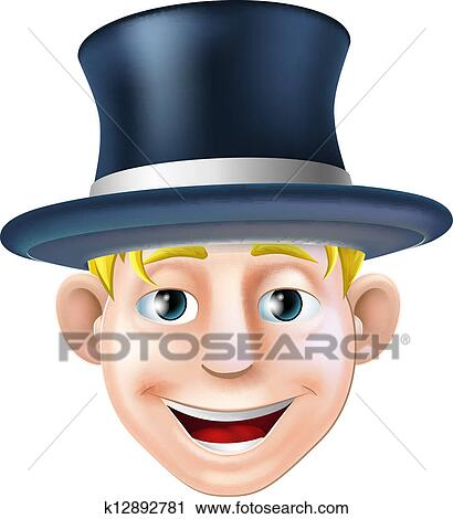 clipart of man in top hat cartoon k12892781 search clip