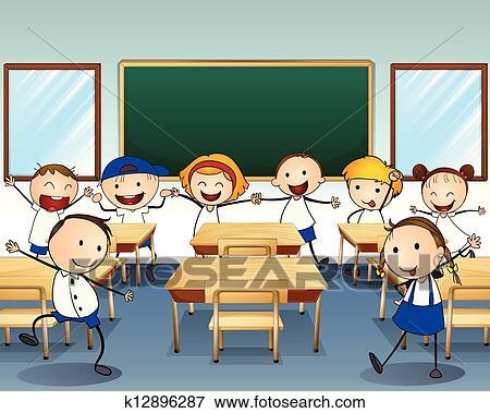 Schulklasse im unterricht clipart  Classroom children Clipart and Illustration. 7,408 classroom ...