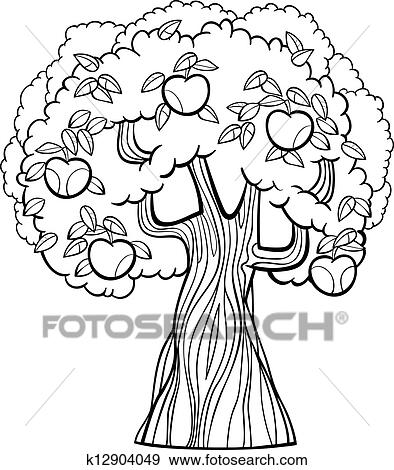 White cartoon illustration of apple tree with apples for coloring book