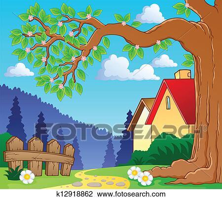 剪贴画 - 树枝, 在中,