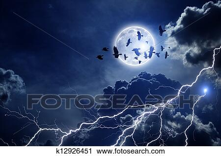 clipart of stormy sky flock of ravens k12926451 search