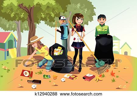 Clip Art - Volunteer kids. Fotosearch - Search Clipart, Illustration ...People Picking Up Trash Drawing