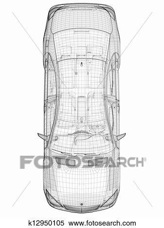 Stock Illustration - auto, 3d, modell, draufsicht ...