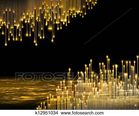 手绘图 - 金色, 光, 纤维