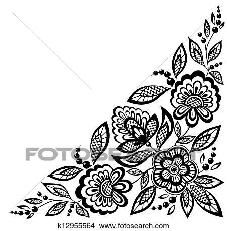 Lace Flowers Drawings Corner Ornamental Lace Flowers