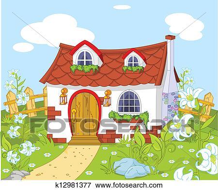 美丽的房子绘画图片