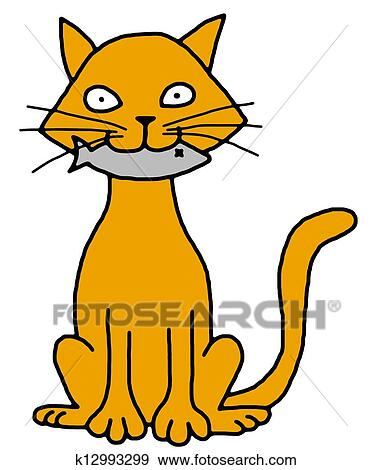 stock illustration of cat with fish k12993299 search